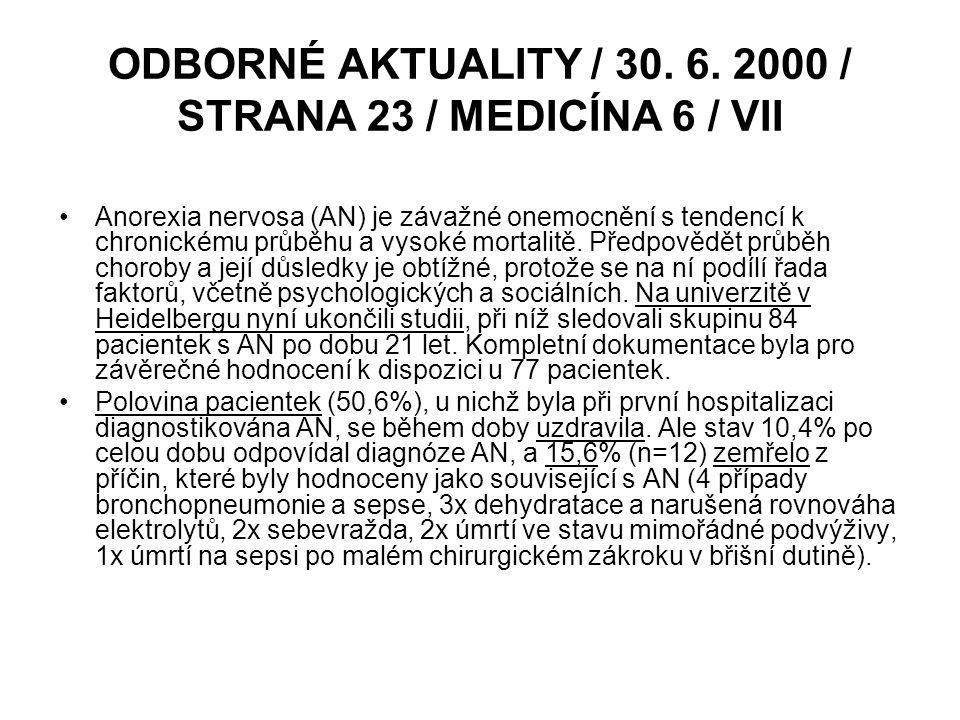 ODBORNÉ AKTUALITY / 30. 6. 2000 / STRANA 23 / MEDICÍNA 6 / VII Anorexia nervosa (AN) je závažné onemocnění s tendencí k chronickému průběhu a vysoké m