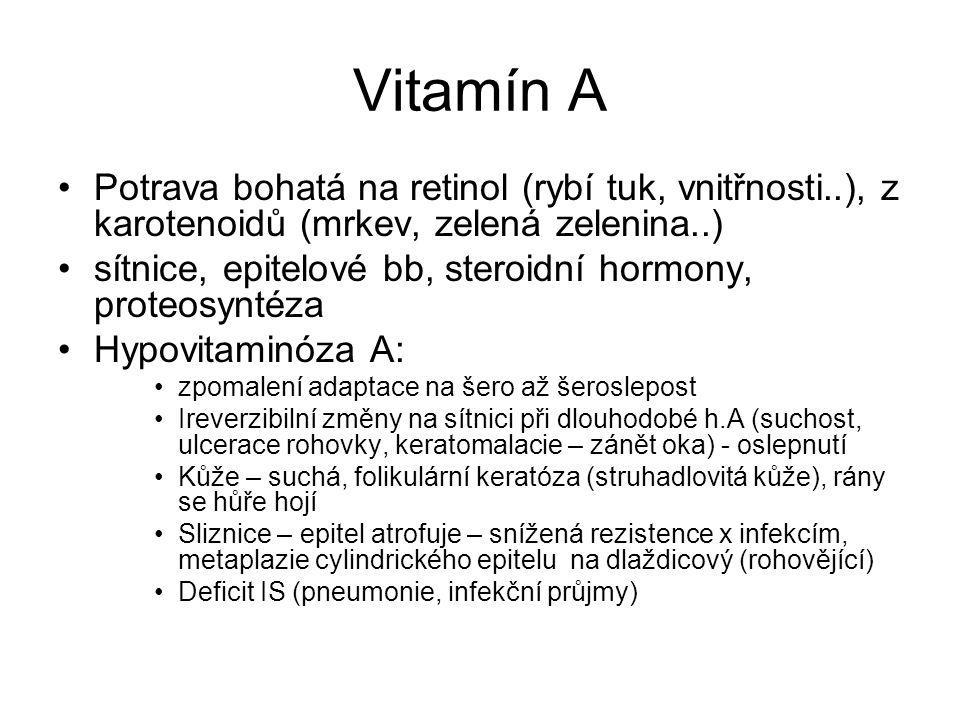 Vitamín A Potrava bohatá na retinol (rybí tuk, vnitřnosti..), z karotenoidů (mrkev, zelená zelenina..) sítnice, epitelové bb, steroidní hormony, prote