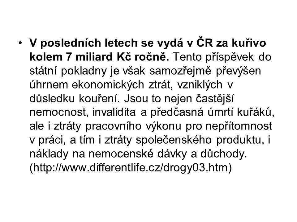 V posledních letech se vydá v ČR za kuřivo kolem 7 miliard Kč ročně. Tento příspěvek do státní pokladny je však samozřejmě převýšen úhrnem ekonomickýc