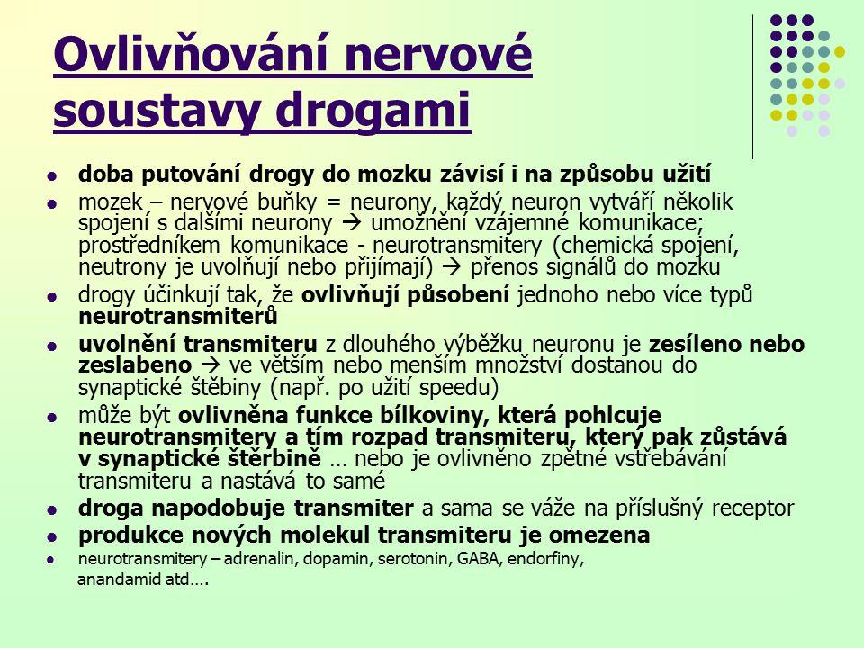 Ovlivňování nervové soustavy drogami doba putování drogy do mozku závisí i na způsobu užití mozek – nervové buňky = neurony, každý neuron vytváří několik spojení s dalšími neurony  umožnění vzájemné komunikace; prostředníkem komunikace - neurotransmitery (chemická spojení, neutrony je uvolňují nebo přijímají)  přenos signálů do mozku drogy účinkují tak, že ovlivňují působení jednoho nebo více typů neurotransmiterů uvolnění transmiteru z dlouhého výběžku neuronu je zesíleno nebo zeslabeno  ve větším nebo menším množství dostanou do synaptické štěbiny (např.