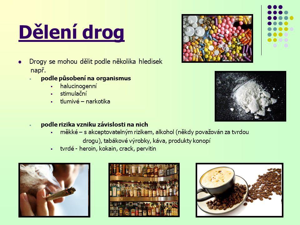 Dělení drog Drogy se mohou dělit podle několika hledisek např.