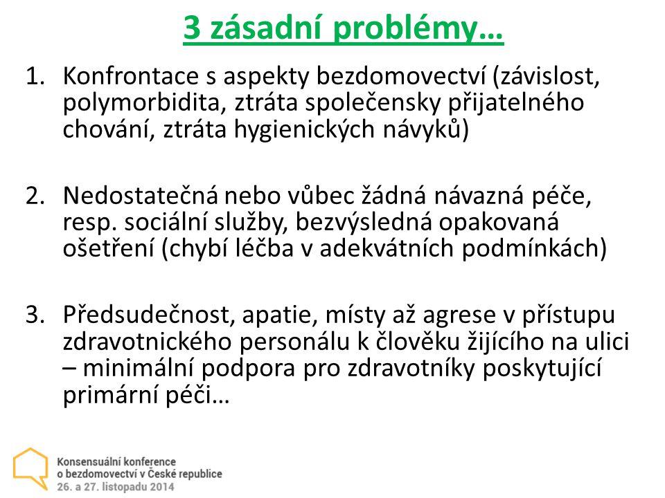 3 zásadní problémy… 1.Konfrontace s aspekty bezdomovectví (závislost, polymorbidita, ztráta společensky přijatelného chování, ztráta hygienických návyků) 2.Nedostatečná nebo vůbec žádná návazná péče, resp.