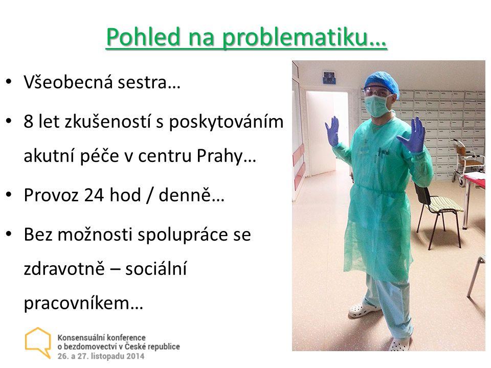 Pohled na problematiku… Všeobecná sestra… 8 let zkušeností s poskytováním akutní péče v centru Prahy… Provoz 24 hod / denně… Bez možnosti spolupráce se zdravotně – sociální pracovníkem…