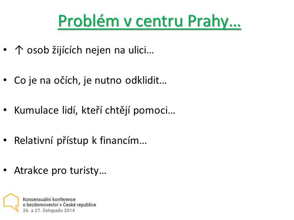 Problém v centru Prahy… ↑ osob žijících nejen na ulici… Co je na očích, je nutno odklidit… Kumulace lidí, kteří chtějí pomoci… Relativní přístup k financím… Atrakce pro turisty…