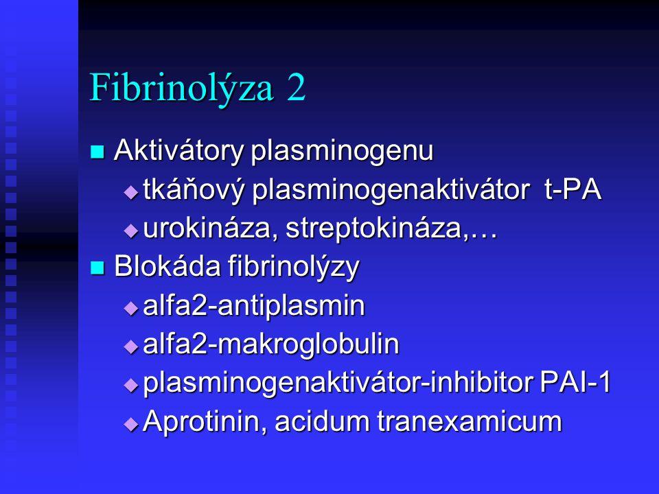 Fibrinolýza Fibrinolýza2 Aktivátory plasminogenu Aktivátory plasminogenu  tkáňový plasminogenaktivátor t-PA  urokináza, streptokináza,… Blokáda fibr