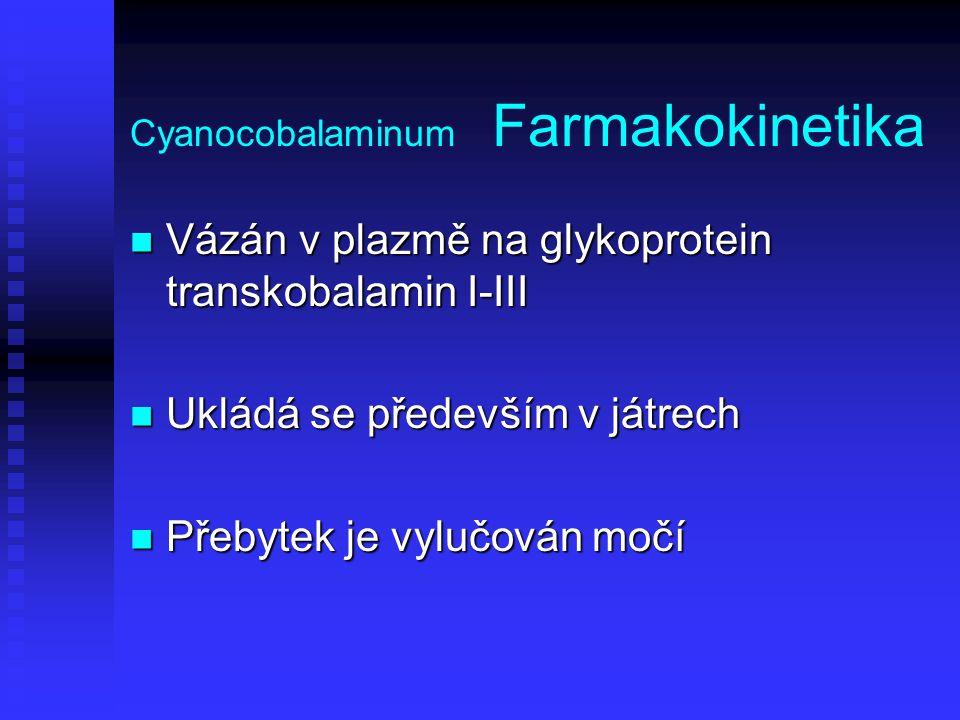 Cyanocobalaminum Farmakokinetika Vázán v plazmě na glykoprotein transkobalamin I-III Vázán v plazmě na glykoprotein transkobalamin I-III Ukládá se pře