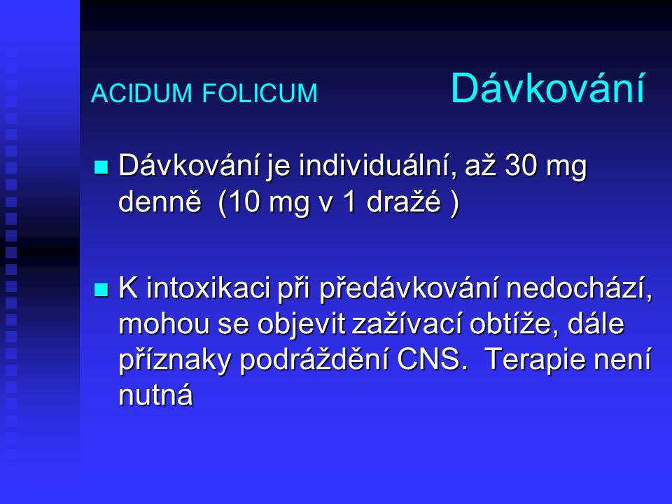 ACIDUM FOLICUM Dávkování Dávkování je individuální, až 30 mg denně (10 mg v 1 dražé ) Dávkování je individuální, až 30 mg denně (10 mg v 1 dražé ) K i
