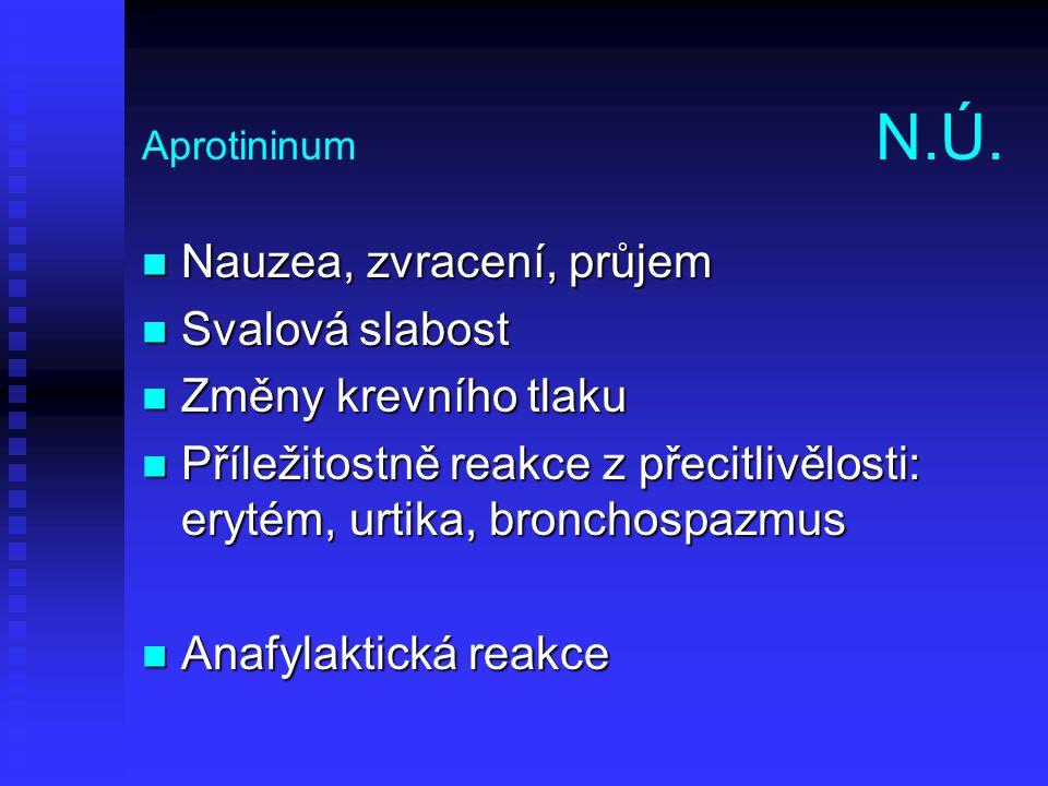 Aprotininum N.Ú. Nauzea, zvracení, průjem Nauzea, zvracení, průjem Svalová slabost Svalová slabost Změny krevního tlaku Změny krevního tlaku Příležito