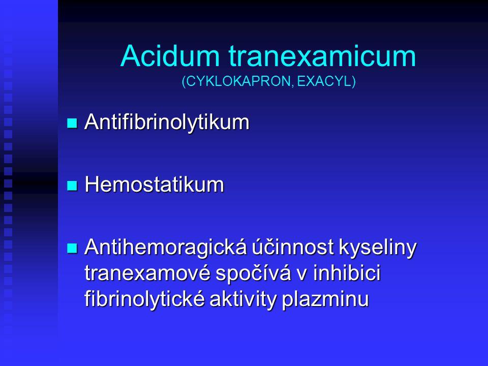 Acidum tranexamicum (CYKLOKAPRON, EXACYL) Antifibrinolytikum Antifibrinolytikum Hemostatikum Hemostatikum Antihemoragická účinnost kyseliny tranexamov