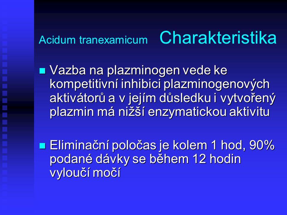 Acidum tranexamicum Charakteristika Vazba na plazminogen vede ke kompetitivní inhibici plazminogenových aktivátorů a v jejím důsledku i vytvořený plaz