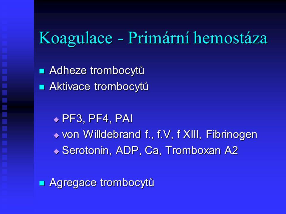 Koagulace - Primární hemostáza Adheze trombocytů Adheze trombocytů Aktivace trombocytů Aktivace trombocytů  PF3, PF4, PAI  von Willdebrand f., f.V,