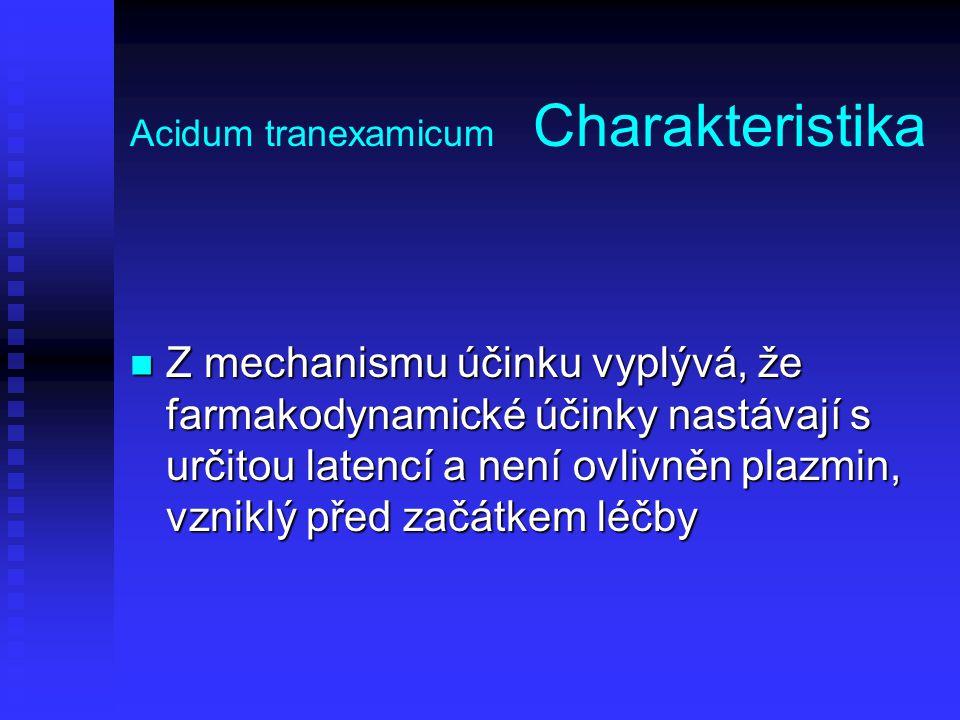Acidum tranexamicum Charakteristika Z mechanismu účinku vyplývá, že farmakodynamické účinky nastávají s určitou latencí a není ovlivněn plazmin, vznik