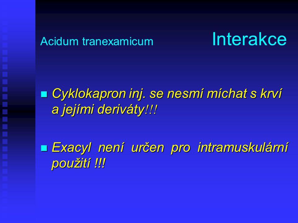 Acidum tranexamicum Interakce Cyklokapron inj. se nesmí míchat s krví a jejími deriváty !!! Cyklokapron inj. se nesmí míchat s krví a jejími deriváty