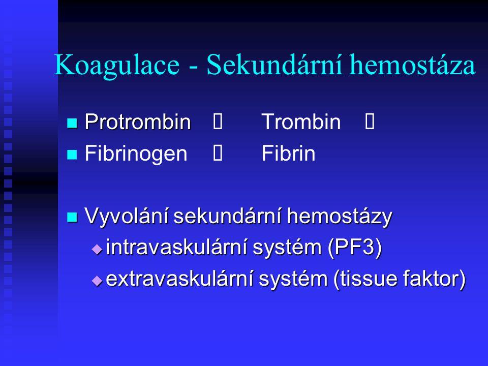 Koagulace - Sekundární hemostáza Protrombin Protrombin  Trombin  Fibrinogen  Fibrin Vyvolání sekundární hemostázy Vyvolání sekundární hemostázy  i