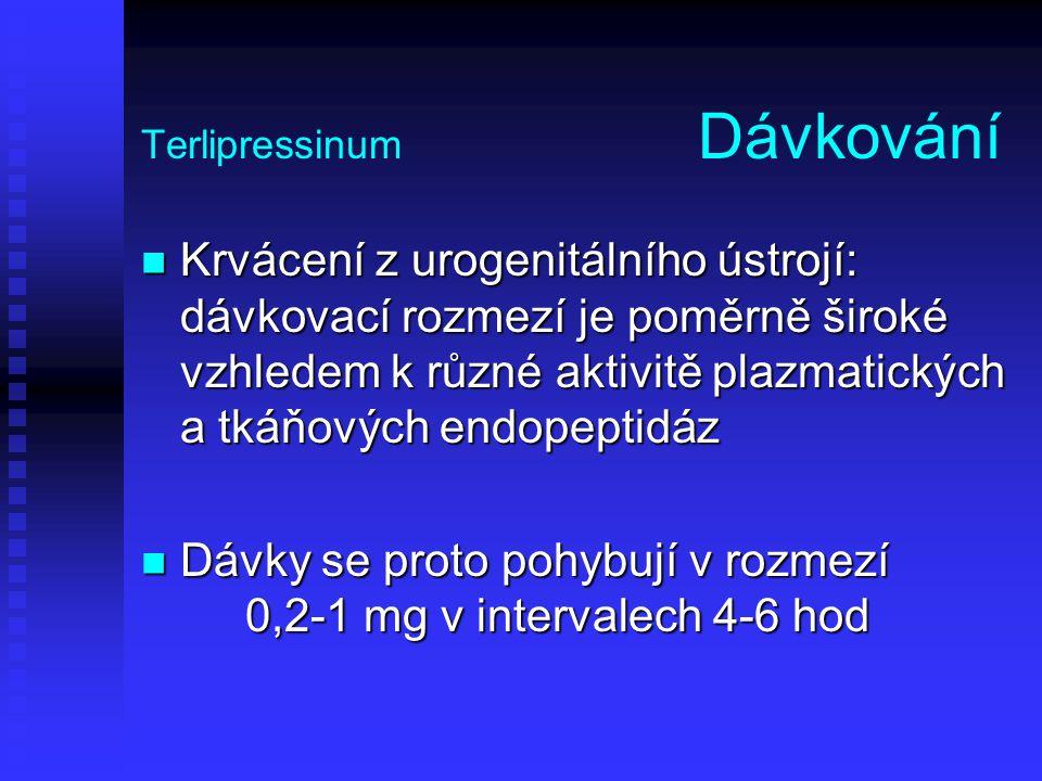 Terlipressinum Dávkování Krvácení z urogenitálního ústrojí: dávkovací rozmezí je poměrně široké vzhledem k různé aktivitě plazmatických a tkáňových en