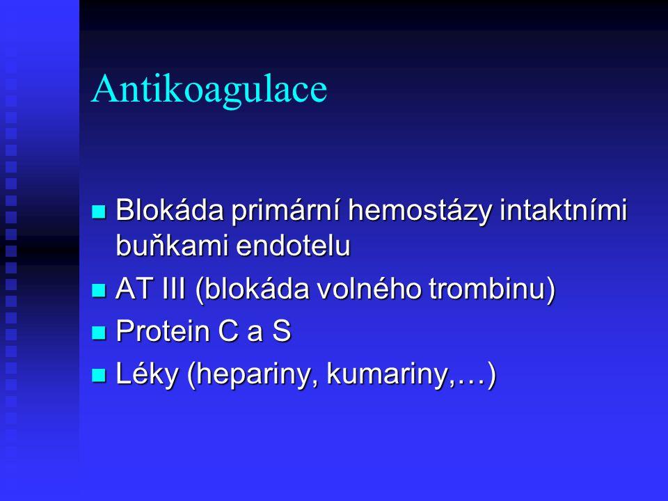Antikoagulace Blokáda primární hemostázy intaktními buňkami endotelu Blokáda primární hemostázy intaktními buňkami endotelu AT III (blokáda volného tr