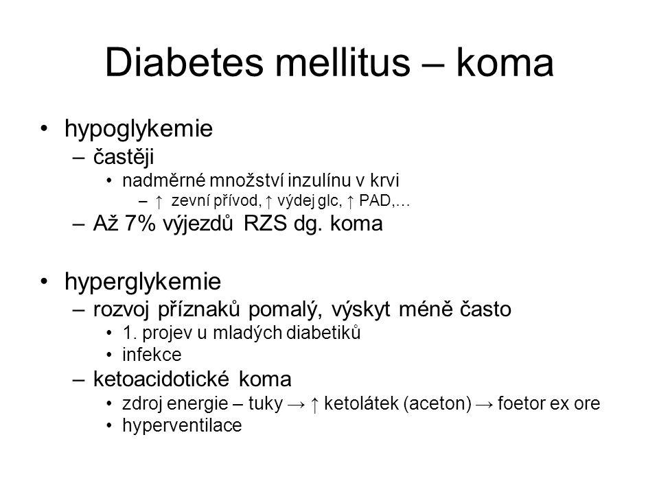 Diabetes mellitus – koma hypoglykemie –častěji nadměrné množství inzulínu v krvi –↑ zevní přívod, ↑ výdej glc, ↑ PAD,… –Až 7% výjezdů RZS dg.