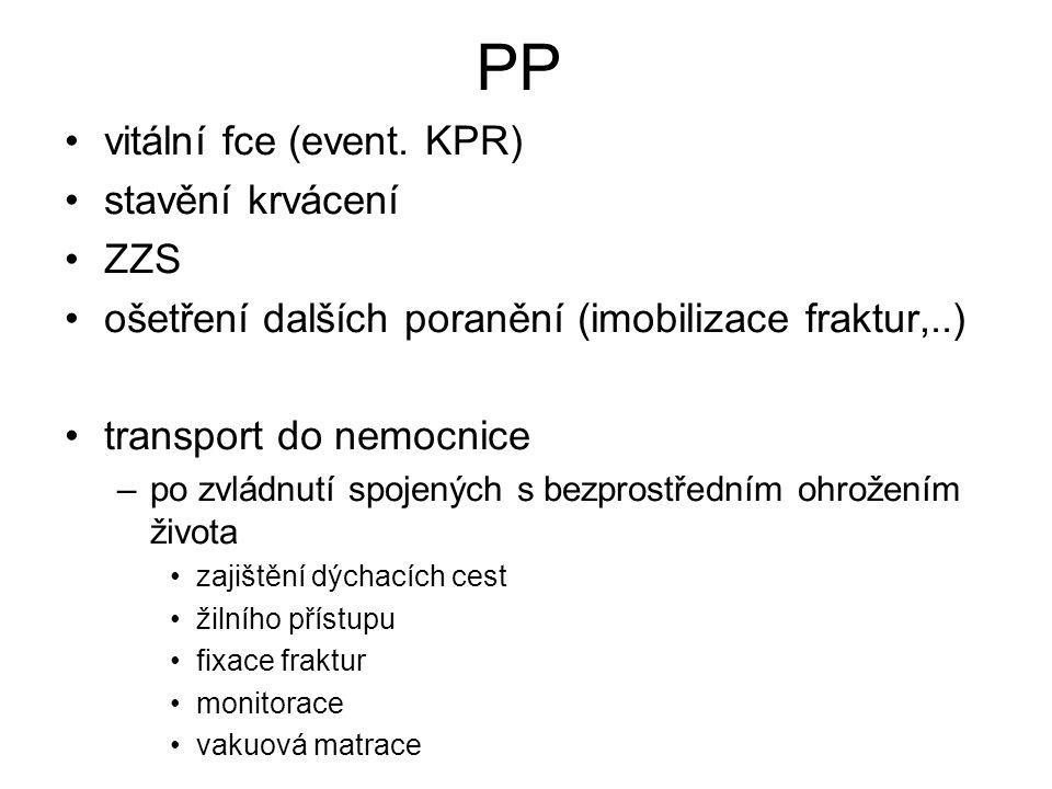 PP vitální fce (event. KPR) stavění krvácení ZZS ošetření dalších poranění (imobilizace fraktur,..) transport do nemocnice –po zvládnutí spojených s b