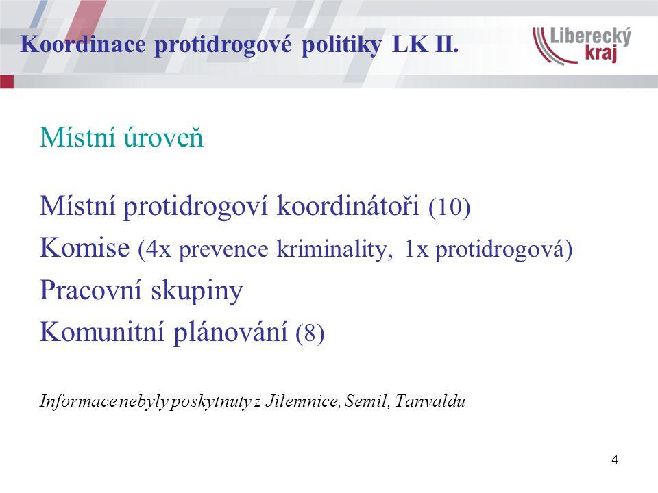 4 Místní úroveň Místní protidrogoví koordinátoři (10) Komise (4x prevence kriminality, 1x protidrogová) Pracovní skupiny Komunitní plánování (8) Informace nebyly poskytnuty z Jilemnice, Semil, Tanvaldu Koordinace protidrogové politiky LK II.
