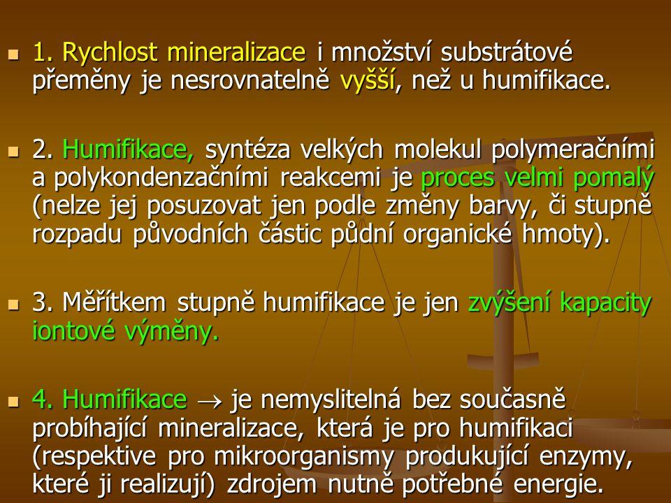 1.Rychlost mineralizace i množství substrátové přeměny je nesrovnatelně vyšší, než u humifikace.