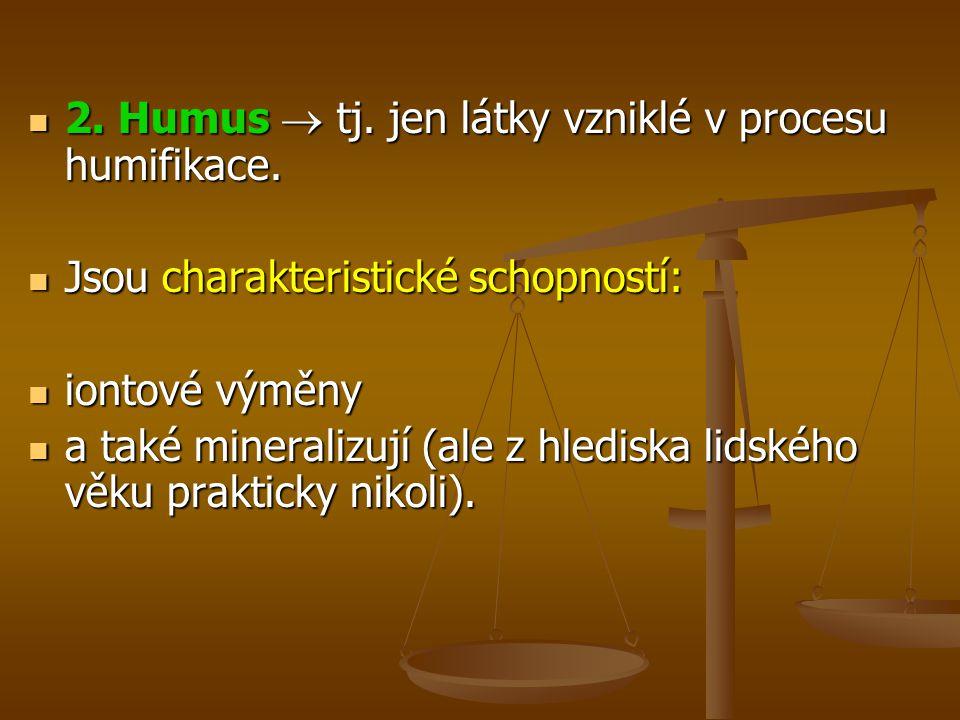 2.Humus  tj. jen látky vzniklé v procesu humifikace.