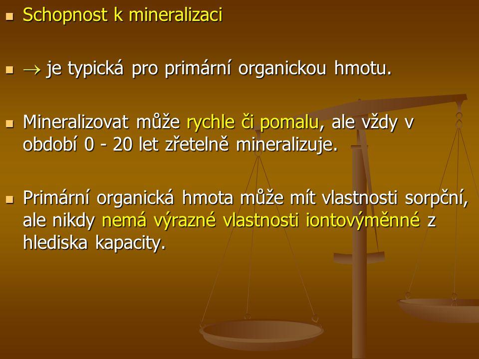 Schopnost k mineralizaci Schopnost k mineralizaci  je typická pro primární organickou hmotu.