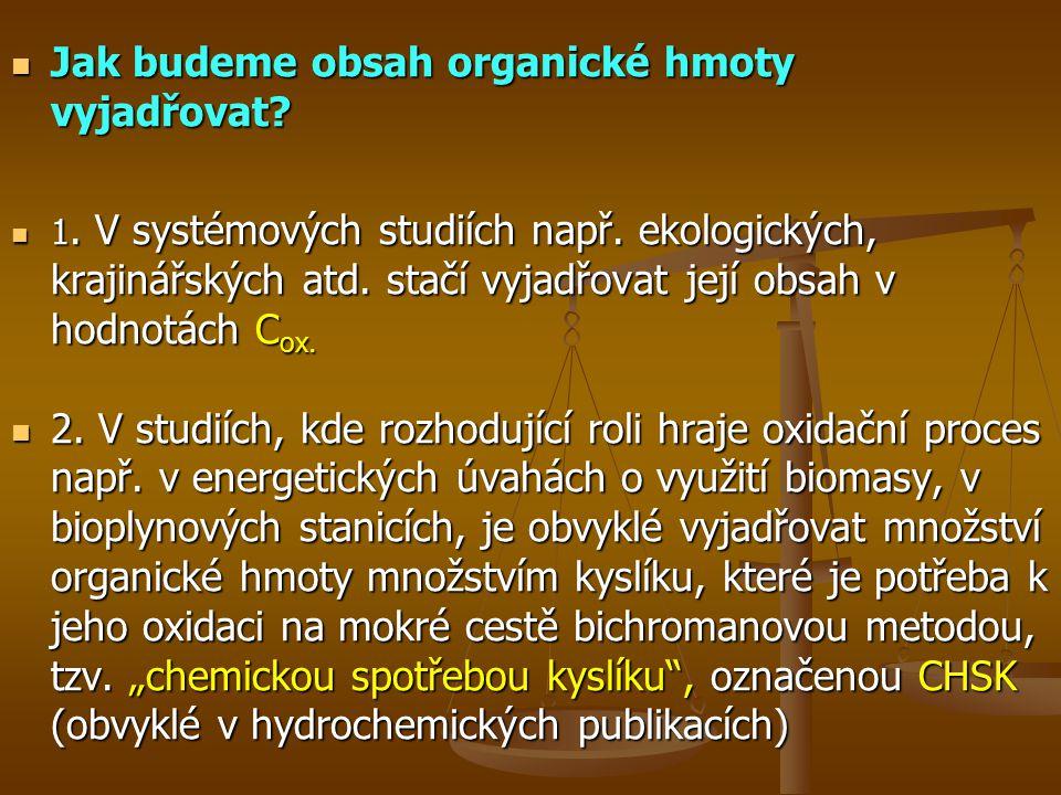 Jak budeme obsah organické hmoty vyjadřovat.Jak budeme obsah organické hmoty vyjadřovat.