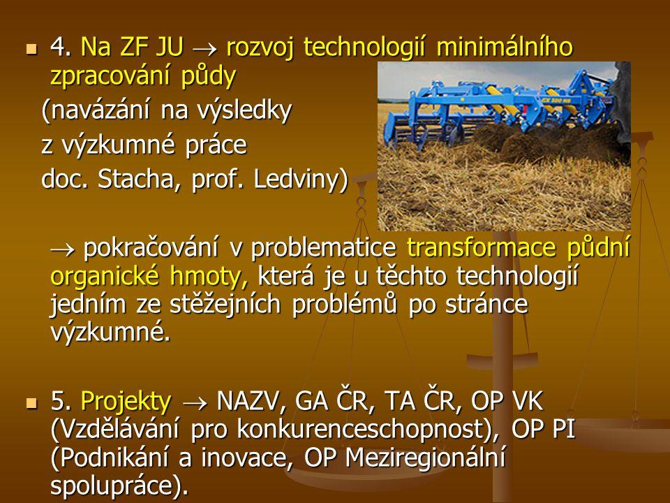 4.Na ZF JU  rozvoj technologií minimálního zpracování půdy 4.