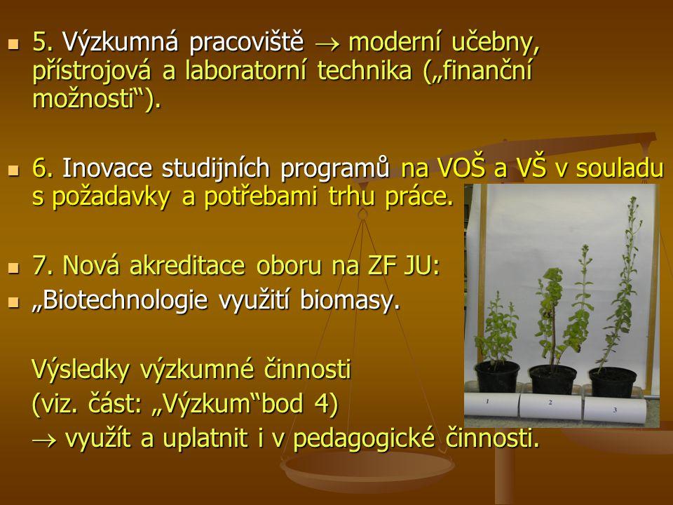 """5.Výzkumná pracoviště  moderní učebny, přístrojová a laboratorní technika (""""finanční možnosti )."""