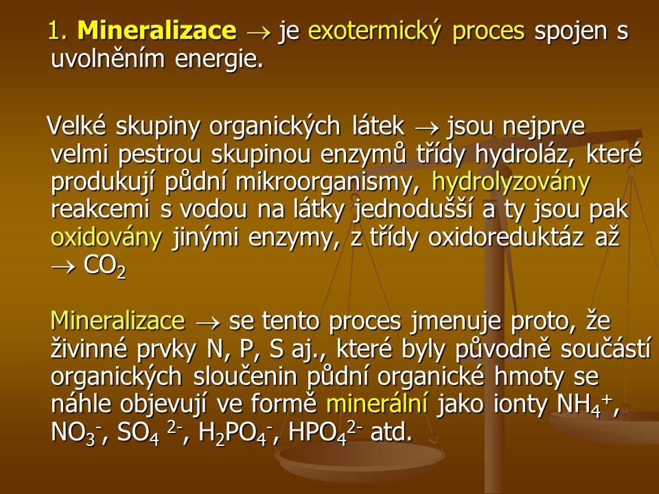 1.Mineralizace  je exotermický proces spojen s uvolněním energie.