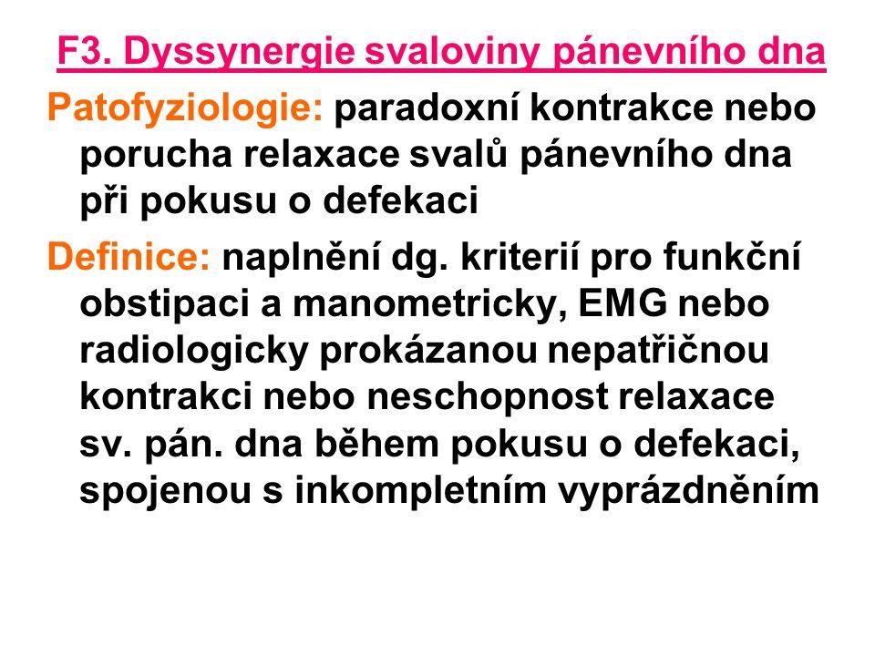 F3. Dyssynergie svaloviny pánevního dna Patofyziologie: paradoxní kontrakce nebo porucha relaxace svalů pánevního dna při pokusu o defekaci Definice: