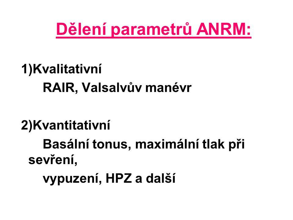 Dělení parametrů ANRM: 1)Kvalitativní RAIR, Valsalvův manévr 2)Kvantitativní Basální tonus, maximální tlak při sevření, vypuzení, HPZ a další