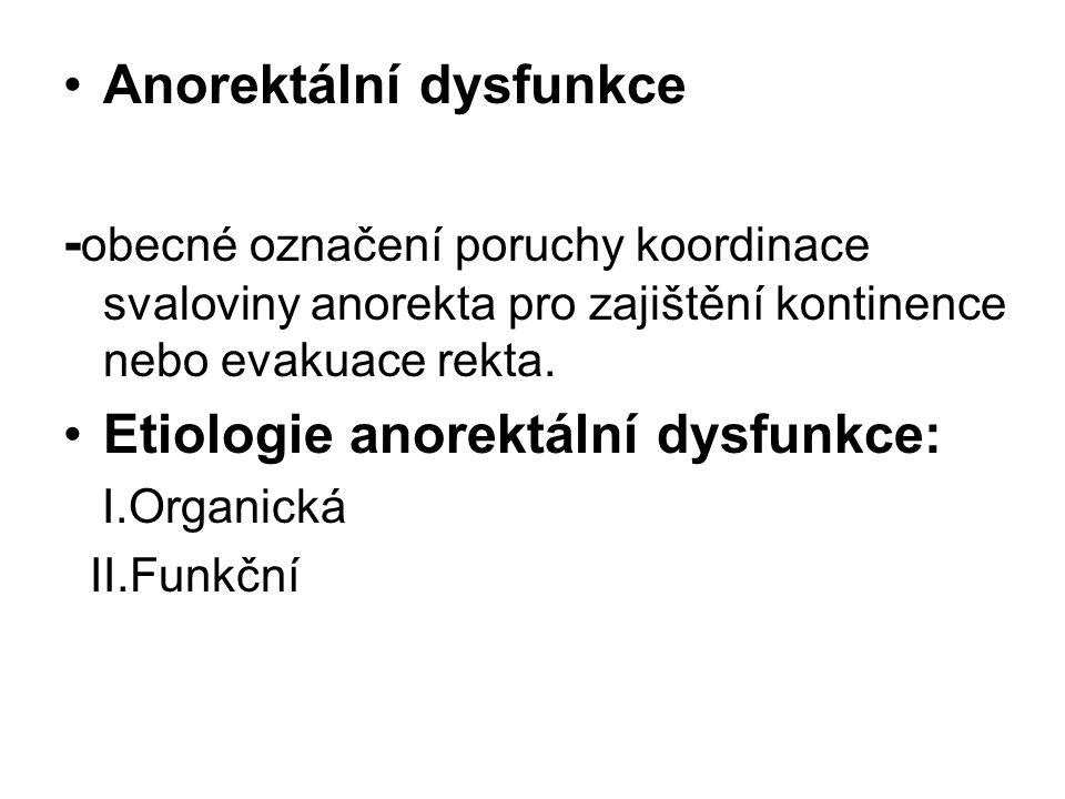 Anorektální dysfunkce - obecné označení poruchy koordinace svaloviny anorekta pro zajištění kontinence nebo evakuace rekta. Etiologie anorektální dysf