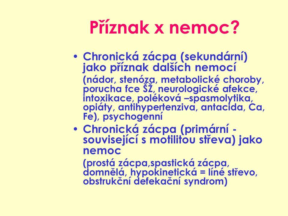 Příznak x nemoc? Chronická zácpa (sekundární) jako příznak dalších nemocí (nádor, stenóza, metabolické choroby, porucha fce ŠŽ, neurologické afekce, i