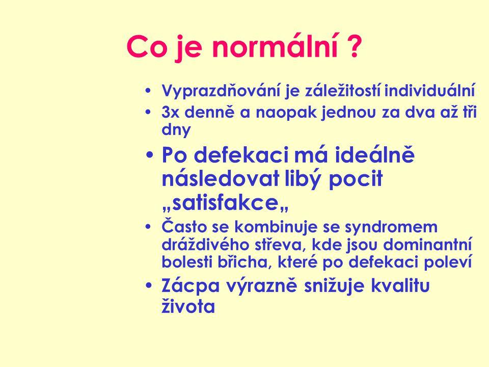 """Co je normální ? Vyprazdňování je záležitostí individuální 3x denně a naopak jednou za dva až tři dny Po defekaci má ideálně následovat libý pocit """"sa"""