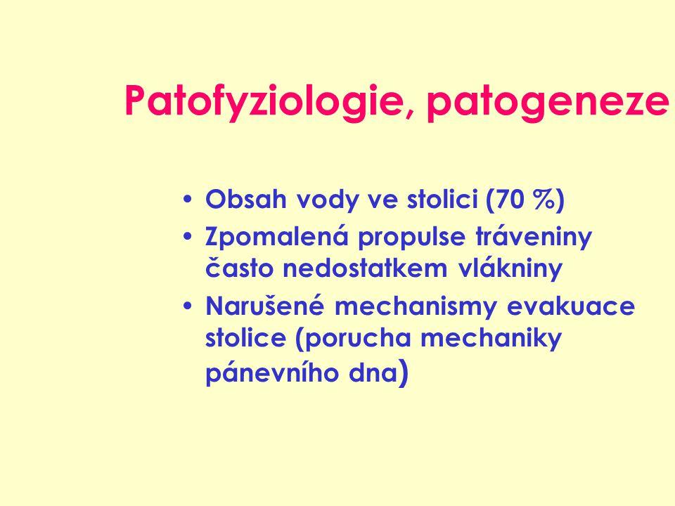 Patofyziologie, patogeneze Obsah vody ve stolici (70 %) Zpomalená propulse tráveniny často nedostatkem vlákniny Narušené mechanismy evakuace stolice (porucha mechaniky pánevního dna )
