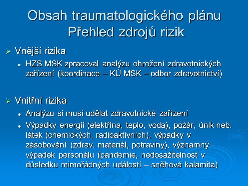 Obsah traumatologického plánu Přehled zdrojů rizik  Vnější rizika HZS MSK zpracoval analýzu ohrožení zdravotnických zařízení (koordinace – KÚ MSK – o