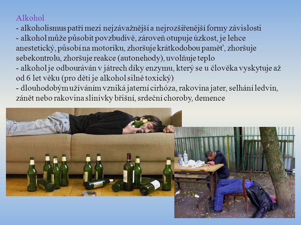 Alkohol - alkoholismus patří mezi nejzávažnější a nejrozšířenější formy závislosti - alkohol může působit povzbudivě, zároveň otupuje úzkost, je lehce