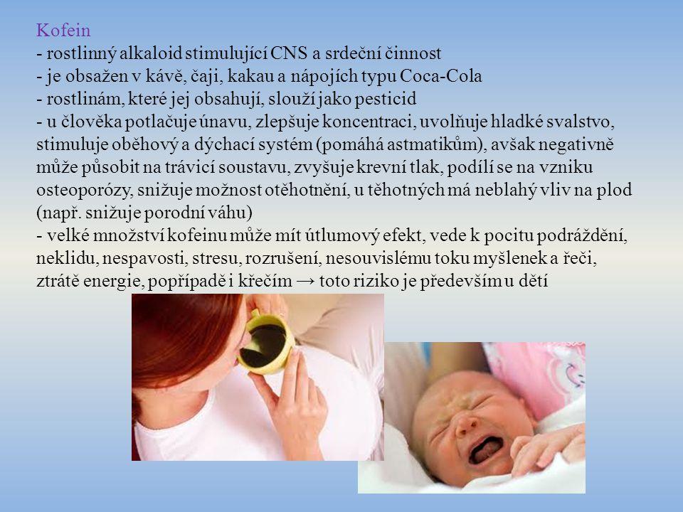 """Stimulační drogy - dodávají člověku energii, zbavují jej únavy, nesmělosti, zábran v komunikaci - patří sem například pervitin, amfetamin nebo kokain - člověk pod vlivem pervitinu nepociťuje únavu, hlad, potřebu spánku, jeho myšlení a pohyby jsou zrychlené, překotné, mnohdy na úkor kvality - po odeznění je uživatel podrážděný, agresivní, ospalý, psychicky roztěkaný a rozhozený, typické je """"víkendové užívání - závislost je silná, uživatel odmítá běžný režim, sociálně upadá, stává se paranoidní, může se rozvinout schizofrenie, uživatelé bývají chorobně vyhublí - podobné účinky má i kokain"""