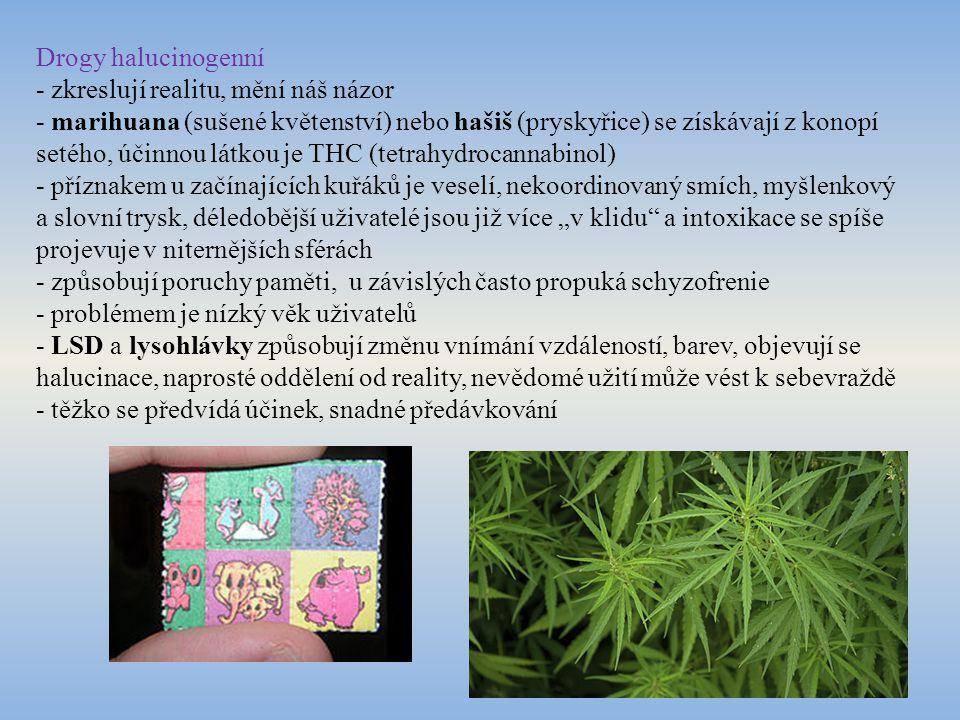 Drogy halucinogenní - zkreslují realitu, mění náš názor - marihuana (sušené květenství) nebo hašiš (pryskyřice) se získávají z konopí setého, účinnou