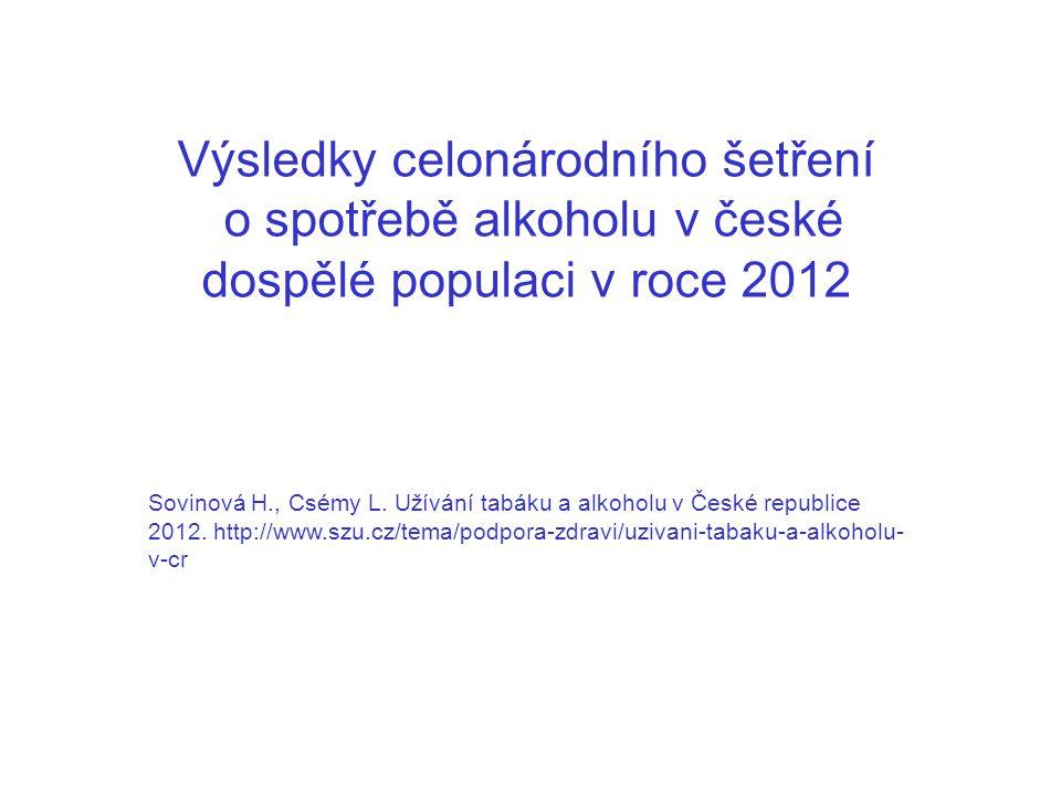 Výsledky celonárodního šetření o spotřebě alkoholu v české dospělé populaci v roce 2012 Sovinová H., Csémy L. Užívání tabáku a alkoholu v České republ