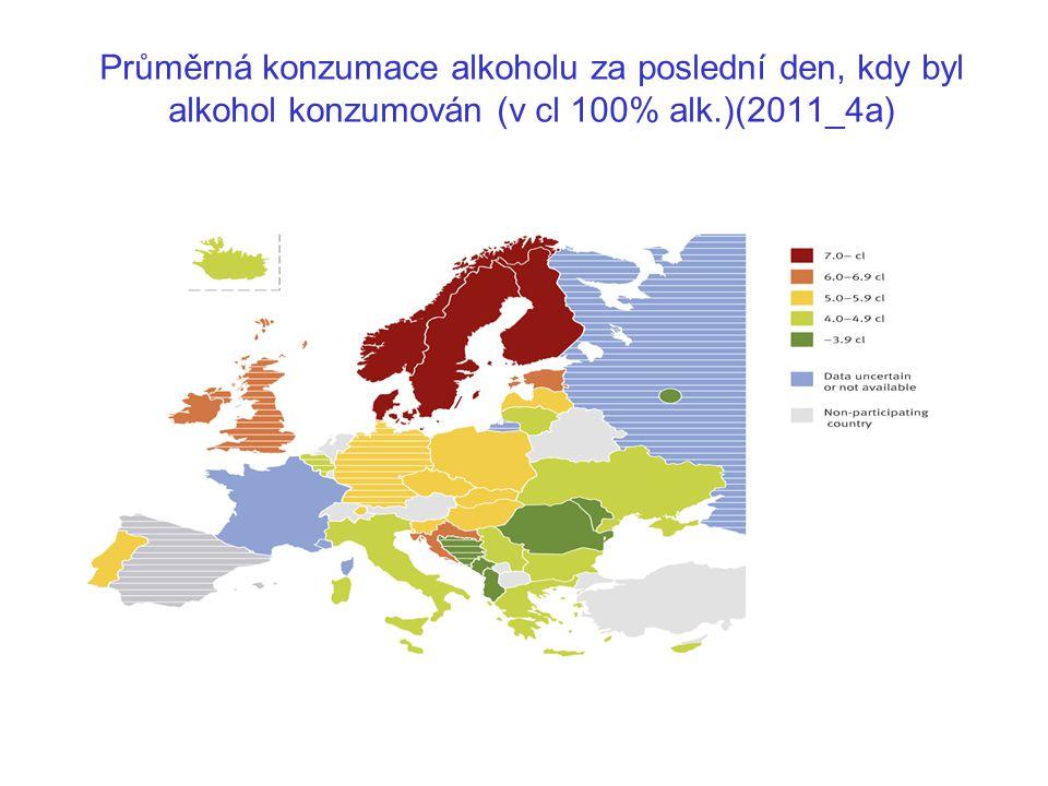 Průměrná konzumace alkoholu za poslední den, kdy byl alkohol konzumován (v cl 100% alk.)(2011_4a)