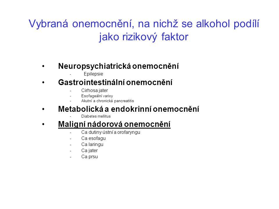 Vybraná onemocnění, na nichž se alkohol podílí jako rizikový faktor Neuropsychiatrická onemocnění - Epilepsie Gastrointestinální onemocnění -Cirhosa j