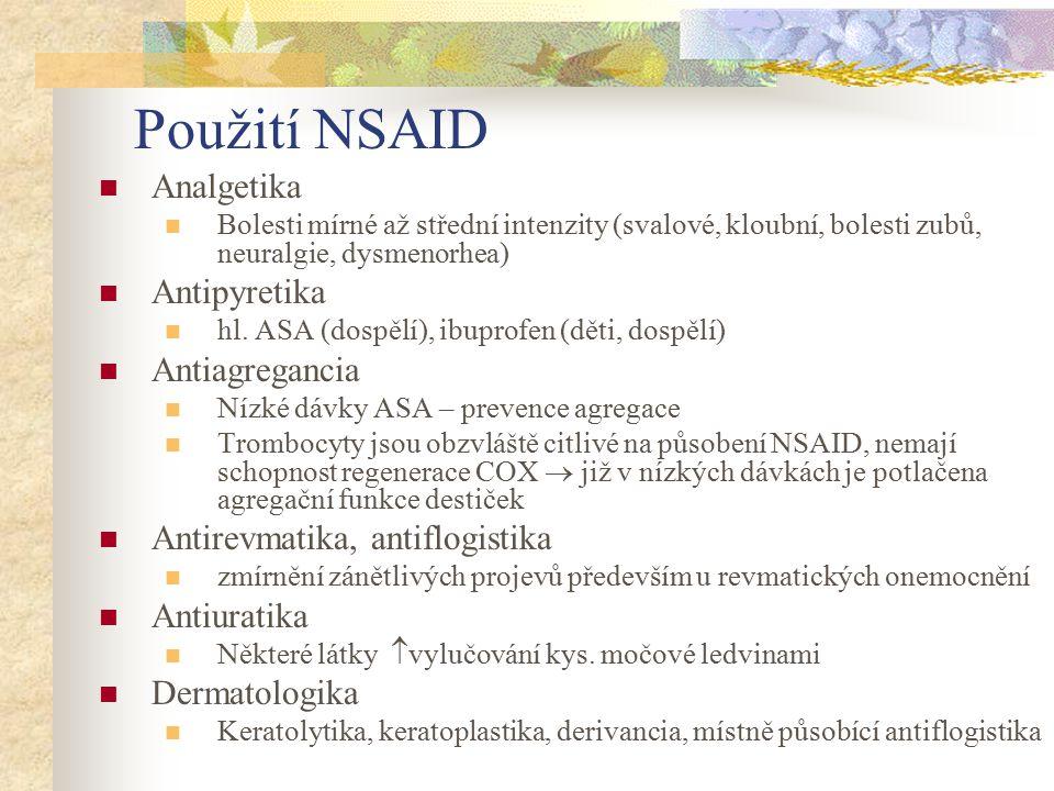 Použití NSAID Analgetika Bolesti mírné až střední intenzity (svalové, kloubní, bolesti zubů, neuralgie, dysmenorhea) Antipyretika hl. ASA (dospělí), i