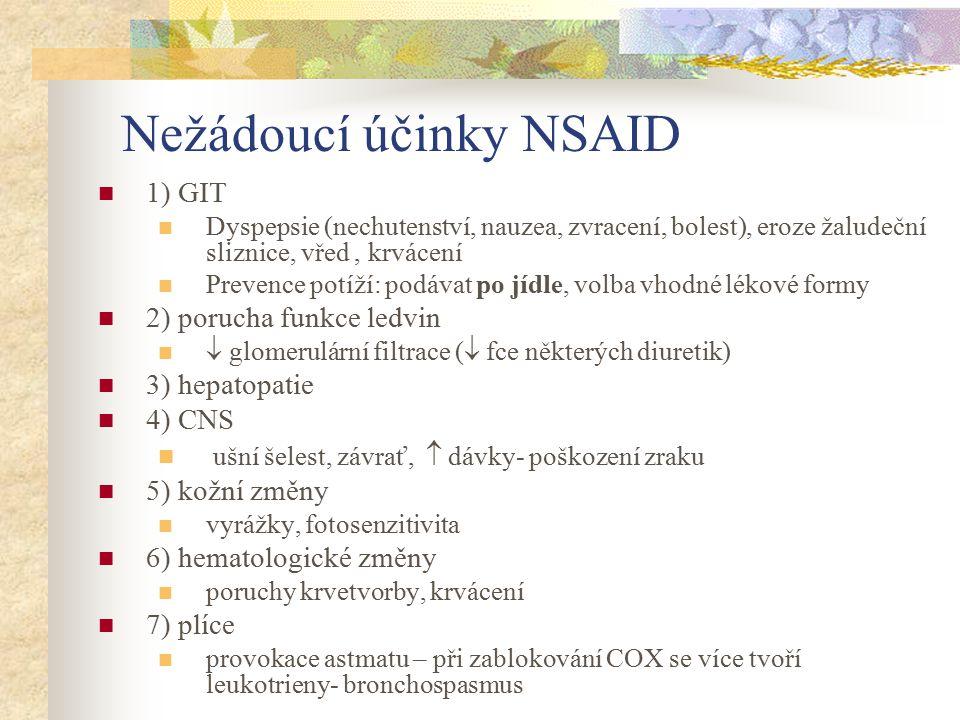 Nežádoucí účinky NSAID 1) GIT Dyspepsie (nechutenství, nauzea, zvracení, bolest), eroze žaludeční sliznice, vřed, krvácení Prevence potíží: podávat po