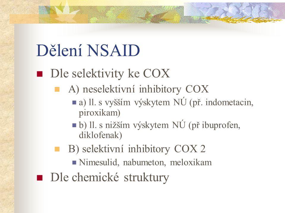 Dělení NSAID Dle selektivity ke COX A) neselektivní inhibitory COX a) ll. s vyšším výskytem NÚ (př. indometacin, piroxikam) b) ll. s nižším výskytem N