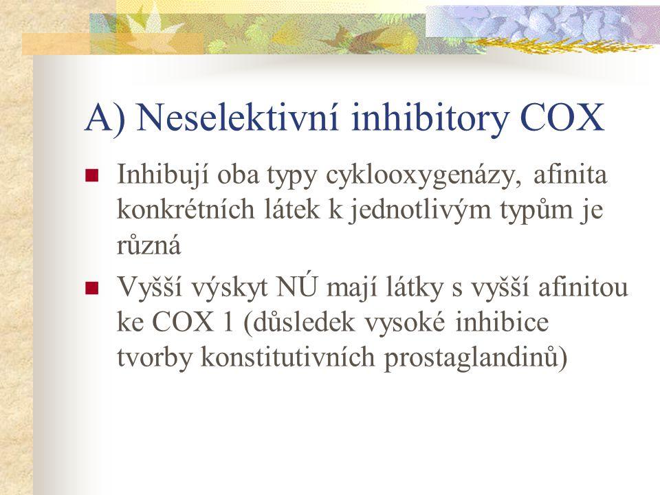 A) Neselektivní inhibitory COX Inhibují oba typy cyklooxygenázy, afinita konkrétních látek k jednotlivým typům je různá Vyšší výskyt NÚ mají látky s v