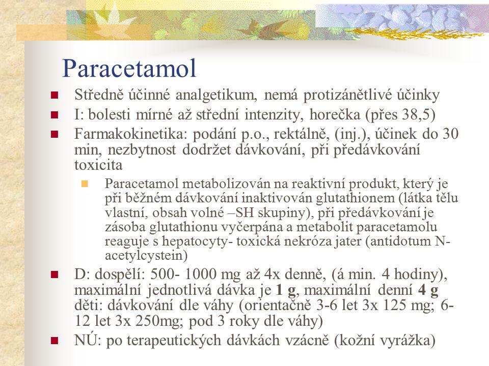 Paracetamol Středně účinné analgetikum, nemá protizánětlivé účinky I: bolesti mírné až střední intenzity, horečka (přes 38,5) Farmakokinetika: podání