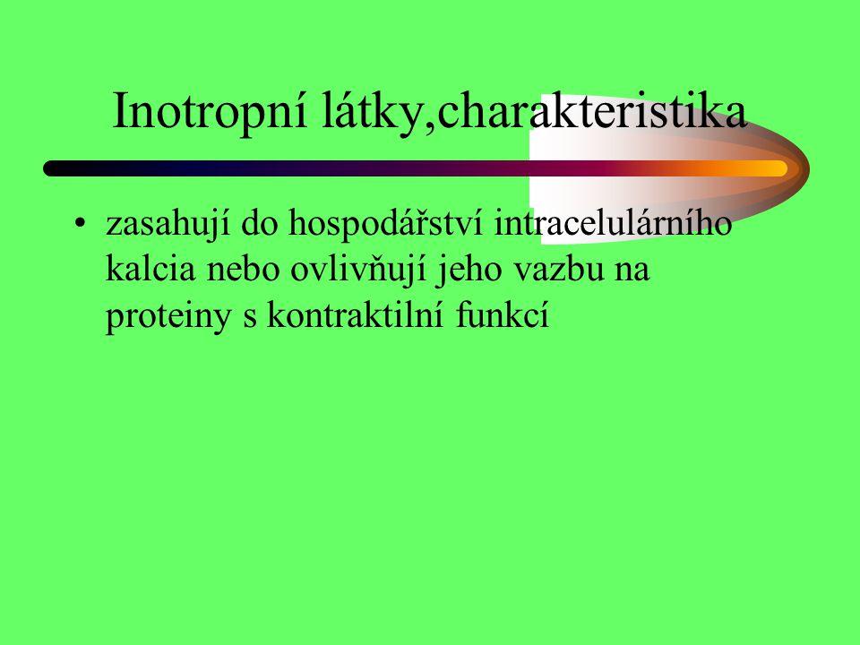 Inotropní látky,charakteristika zasahují do hospodářství intracelulárního kalcia nebo ovlivňují jeho vazbu na proteiny s kontraktilní funkcí