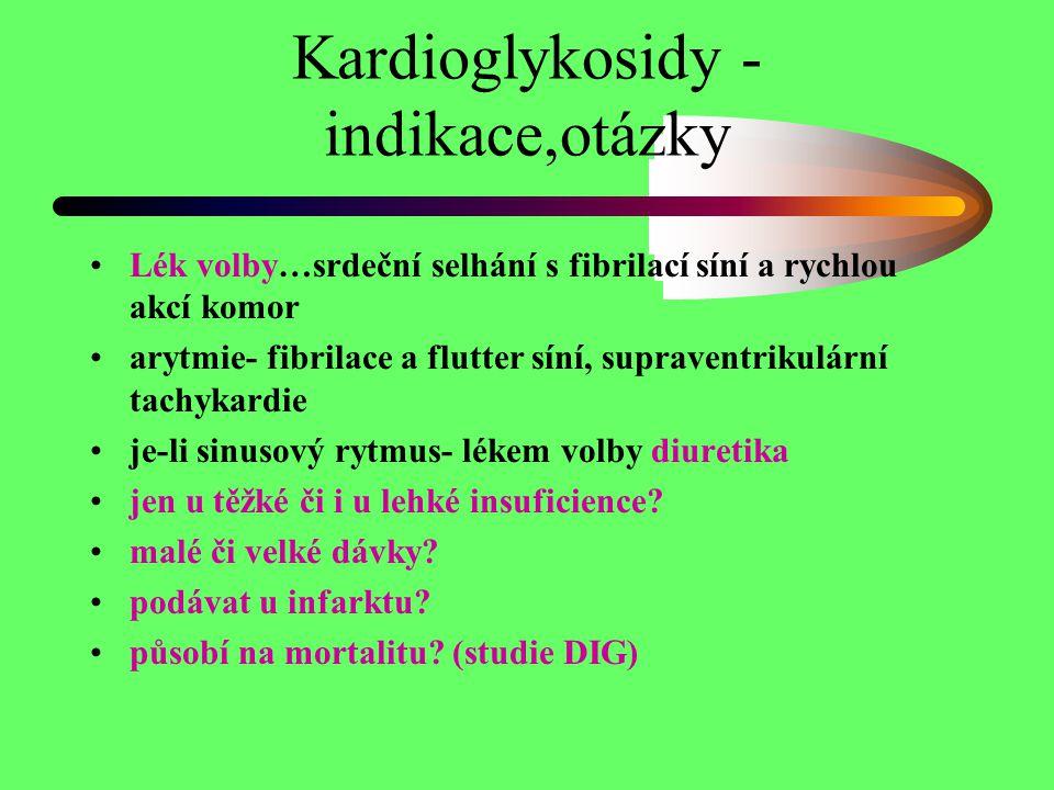 Kardioglykosidy - indikace,otázky Lék volby…srdeční selhání s fibrilací síní a rychlou akcí komor arytmie- fibrilace a flutter síní, supraventrikulárn